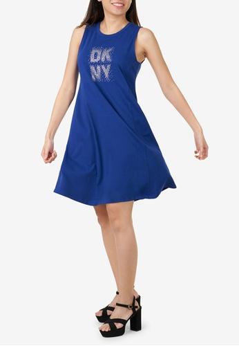 DKNY blue DKNY Women Long Sleeve Pleated Ruffle Maxi 7B993AA87CD5E0GS_1