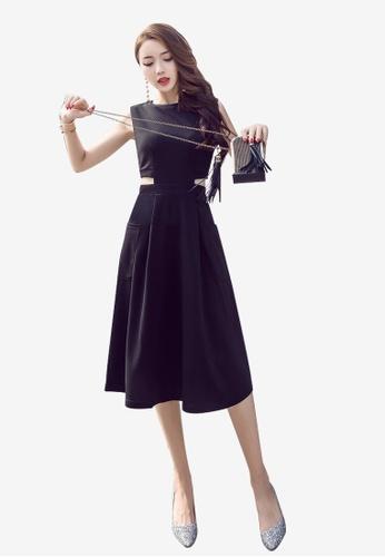 Lara black Round Neckline Sleeveless A-line Dress B43C2AA9E6BD6DGS_1