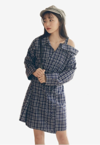 a185c2e16764 Shop Tokichoi Plaid Off-Shoulder Dress Online on ZALORA Philippines