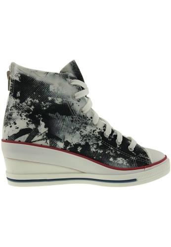 Maxstar black Maxstar Women's 7H Zipper Fabric Low Wedge Heel Sneakers MA164SH55PWASG_1