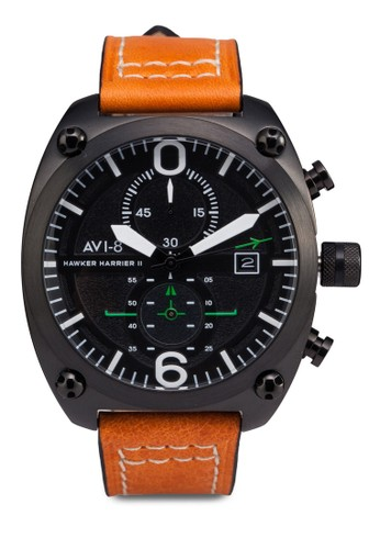 Hawker esprit 面試Harrier II 皮革大圓錶, 錶類, 計時型