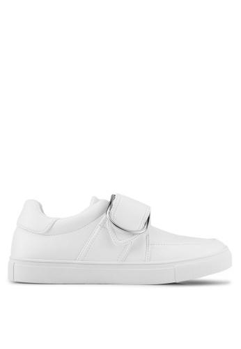 ZALORA white Front Strap Buckle Sneakers B557DSH4DFFA65GS_1