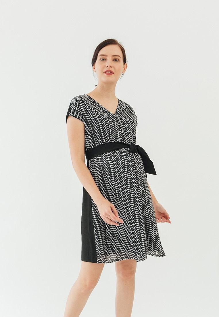 Dress Maternity by Spring Nursing Print Sleeved Black Chevy Zara Bove Kimono Black 8EqFwqd