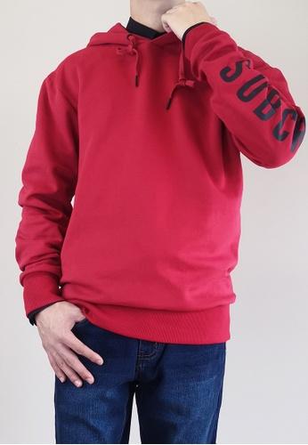 SUB red Men Oversized Hoodie 8BCF2AA0BEF57CGS_1