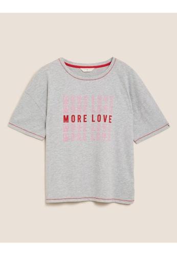 MARKS & SPENCER grey M&S Cotton More Love Slogan Pyjama Top B5589AA56FBBF9GS_1