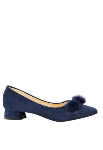 Twenty Eight Shoes blue Fur Bow Low Heel 333-31 50DFASH314B05CGS_1