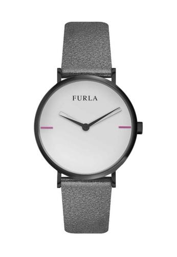 Furla black Giada Quartz Watch R4251108520 Black and Grey Leather Strap 1C776ACEB4213EGS_1