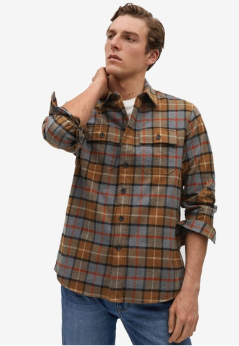 MANGO Man brown Regular Fit Checked Flannel Shirt 98483AAE64BBC2GS_1