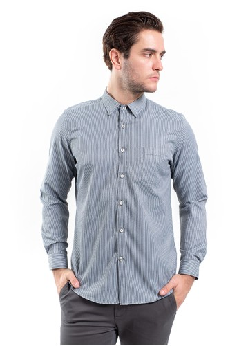 MANLY black Manly Straton Black Slim Fit Striped Shirt Printed 51091AAA80DEF3GS_1
