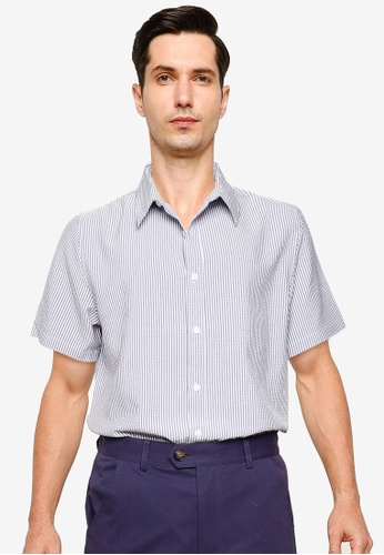 ZALORA BASICS blue Seersucker Short Sleeve Collar Shirt E83B3AA66DDBC4GS_1