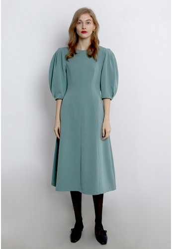TAV [Korean Designer Brand] Volume Puffy Line Dress - Mint 42E0CAA80AA5BCGS_1