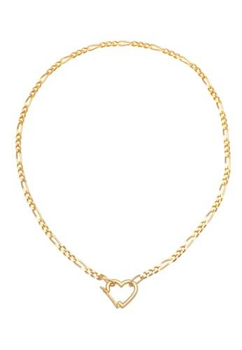 Elli Germany gold Perhiasan Wanita Perak Asli - Silver Kalung Figaro Heart Pendant Lapis Emas B758CACBEC5017GS_1