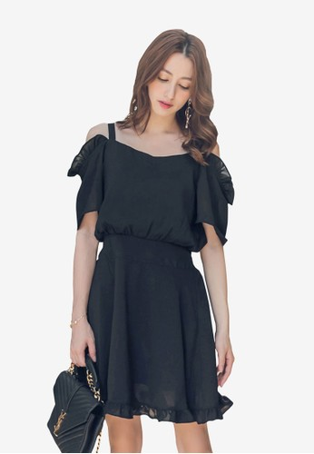 Yoco black Ruffle Open Shoulder Dress 1C18EAA2DF6DBAGS_1