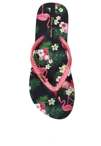 f454f3c6e284 Palm Lagoon black Sandal   Flip flop Flamingo Floral Pink B8F83SH3545853GS 1