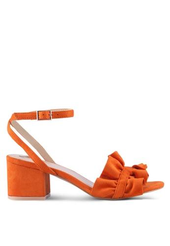 Velvet orange Double Front Strap Ruffles Heels 0C30ESHEAC2997GS_1