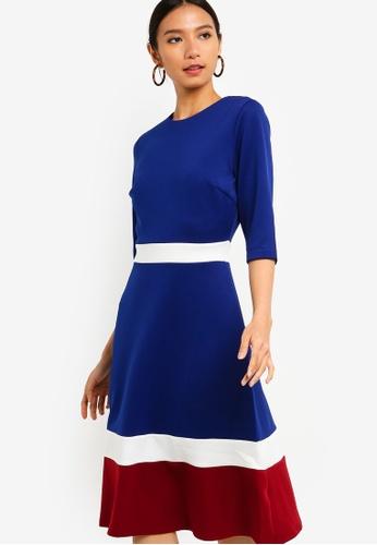 ZALORA blue and multi Color Block Midi Dress 2D052AAEA9D587GS_1