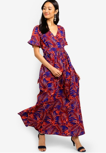 ZALORA red and blue Wrap Maxi Dress 22609AAE4135C8GS_1