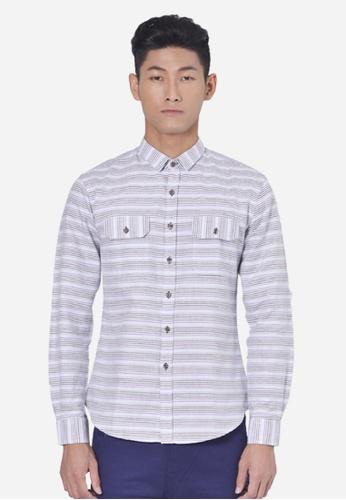 Private Stitch purple Stylish Shirt With Horizontal Dobby Stripe PR777AA64LRNMY_1