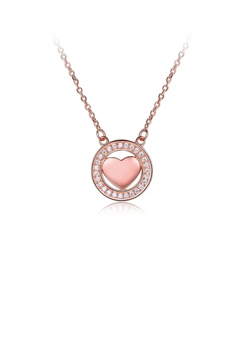 Glamorousky white 925 Sterling Silver Plated Rose Gold Geometric Round Heart Pendant with Cubic Zircon and Necklace DF9F2ACF5E232EGS_1