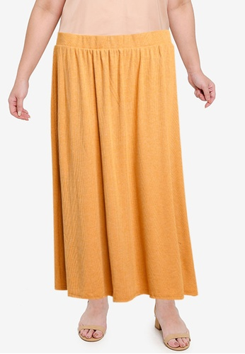 Vero Moda brown Plus Size Ey Midi Skirt 6F0E9AA21A7E35GS_1