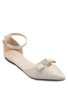 【ZALORA】 Varina 蝴蝶結尖頭側空平底鞋