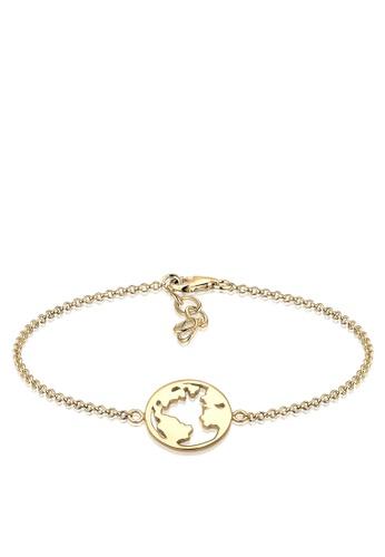 Elli Germany gold Elli Germany Globe Travel 925 Silver Gold Plated Bracelet EL474AC61OKSMY_1