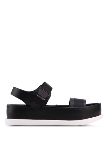 Something Borrowed black Velcro Strap Sandals 8F9A4SHE43E764GS_1