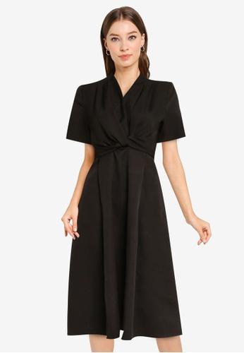 ZALORA WORK black Knot Detail Midi Dress 2800AAA3BC7D6CGS_1