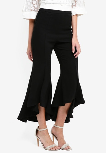 River Island black Cropped Flare Trousers 229B7AAA42DB37GS_1