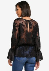 WAREHOUSE black Lace Back Top WA653AA0S7D8MY_1