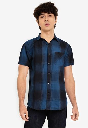 Fidelio blue Checkered Short Sleeves Shirt 4E557AADE5EEF9GS_1