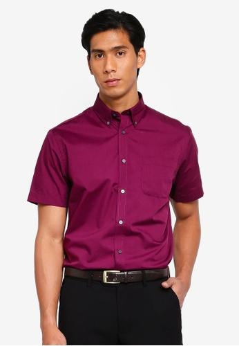 OVS 紫色 Classic 短袖襯衫 DAD55AA01C362CGS_1