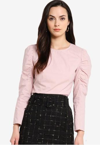 ZALORA WORK pink Puff Sleeve Top D458EAA692BF20GS_1