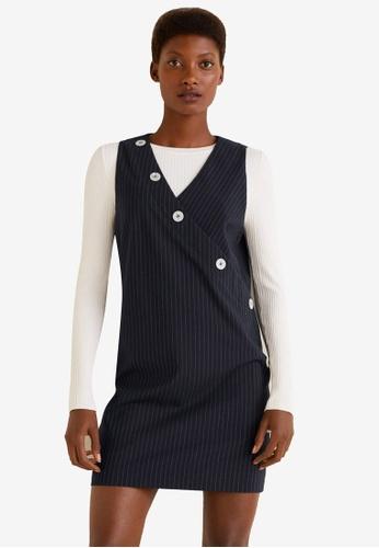 Mango navy Short Buttoned Dress B112CAA4A5D286GS_1