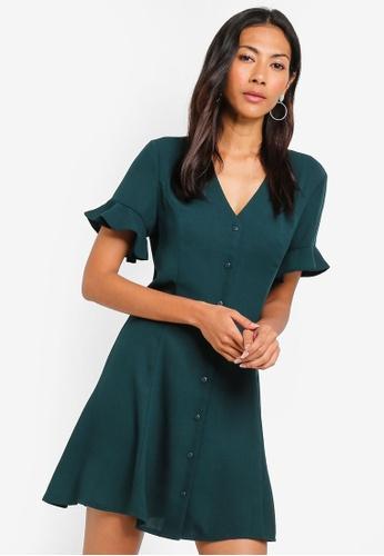 ZALORA BASICS green Basic Button Fit And Flare Dress 26D91AA4284402GS_1
