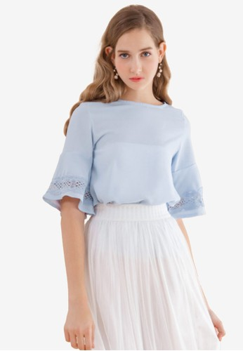 Eyescream blue Lace Insert Flare Sleeves Top 38C03AA663CCAAGS_1