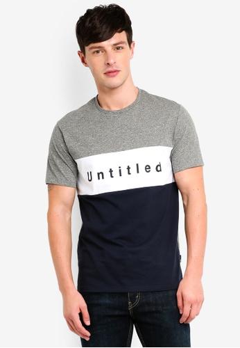 Burton Menswear London 灰色 撞色印花T恤 C47A1AA846ACB5GS_1