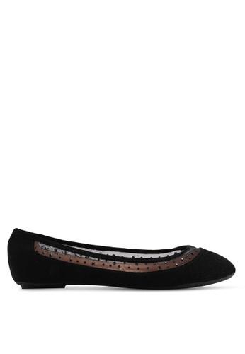 Carlton London 黑色 鑽飾透視平底鞋 83555SH744FED5GS_1
