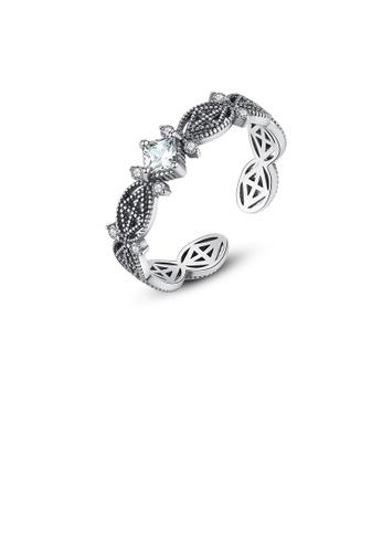 Glamorousky white 925 Sterling Silver Vintage Elegant Geometric Pattern Cubic Zirconia Adjustable Ring 7EB92AC81BAD16GS_1
