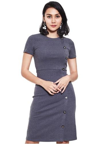 Nichii grey Side Button Short Sleeve Dress BCFFCAAC7C7718GS_1