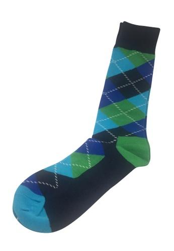 Splice Cufflinks Plaids Series Dark Blue, Green and Blue Socks SP744AA30PERSG_1