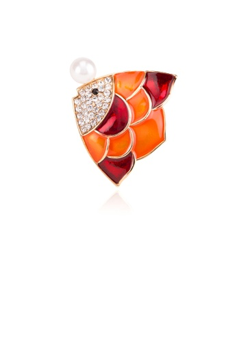 Glamorousky white Simple and Lovely Plated Gold Orange Tropical Fish Imitation Pearl Brooch with Cubic Zirconia A5654AC7C85B7EGS_1