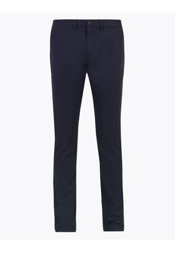 MARKS & SPENCER navy M&S Slim Fit Printed Stretch Chinos FDEC9AA83F33A5GS_1