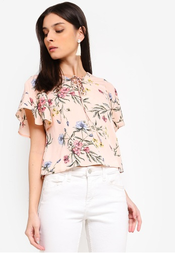 ZALORA 粉紅色 and 多色 Boxy Top With Flare Sleeves 285AAAA2242862GS_1