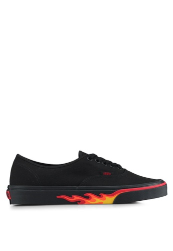 VANS black and red Authentic Flame Wall Sneakers VA142SH0SWPIMY_1
