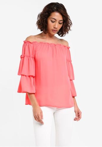Dorothy Perkins pink Cny: Peach Ruffle Bardot Top DO816AA0SKSUMY_1