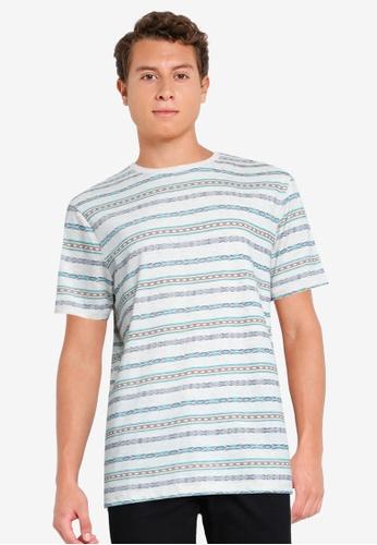 Springfield 白色 民俗風條紋T恤 076F2AA506449BGS_1