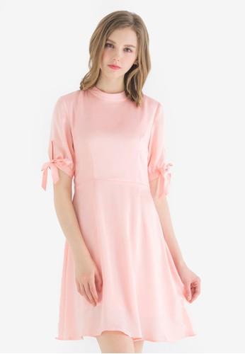 Kodz pink Satin Fit-and-flare Dress 53D5DAA4F3CF93GS_1