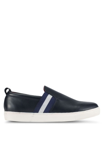 ACUTO blue and navy Stripe Slip-On Sneakers AC283SH0SL6CMY_1