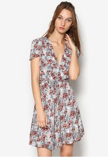 印花V 領繫帶洋裝, 服飾, 洋esprit 中文裝